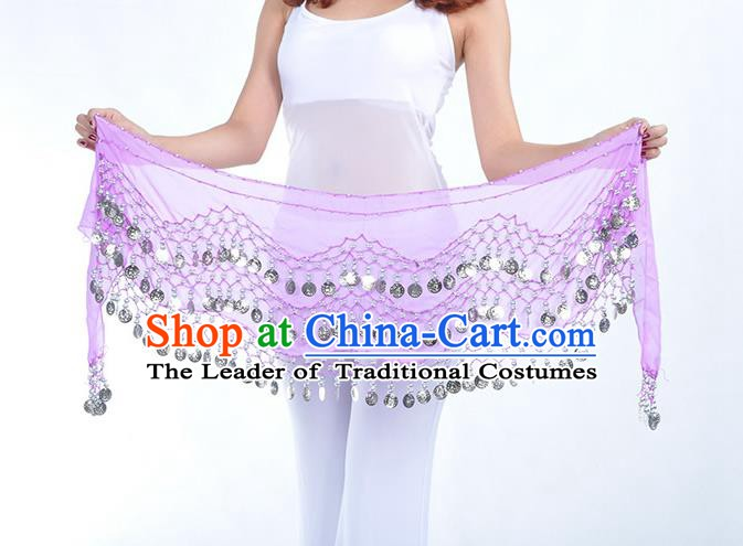 Asian Indian Belly Dance Argent Paillette Lilac Silk Waistband Accessories India Raks Sharki Belts for Women