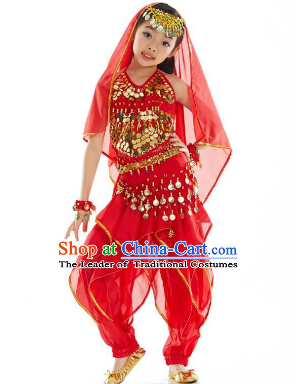 Asian Indian Belly Dance Costume Stage Performance India Raks Sharki Red Dress for Kids