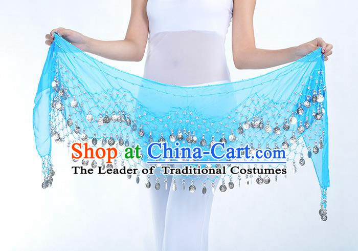 Asian Indian Belly Dance Argent Paillette Blue Silk Waistband Accessories India Raks Sharki Belts for Women