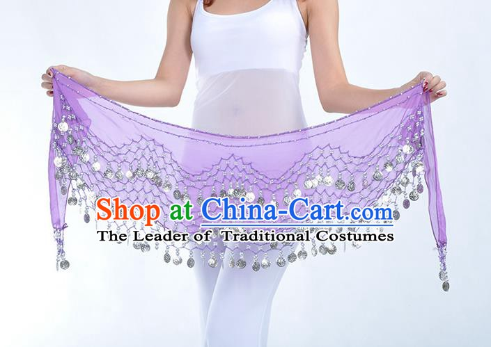 Asian Indian Belly Dance Argent Paillette Purple Silk Waistband Accessories India Raks Sharki Belts for Women