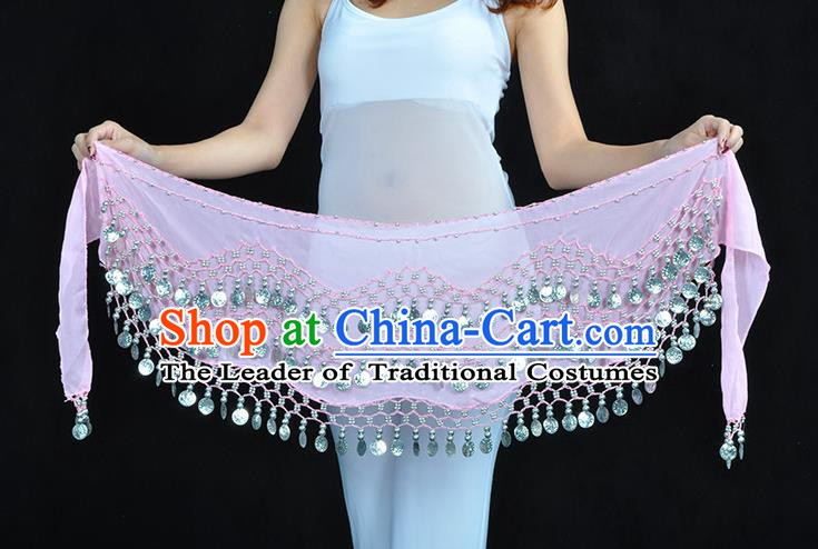 Asian Indian Belly Dance Argent Paillette Pink Silk Waistband Accessories India Raks Sharki Belts for Women