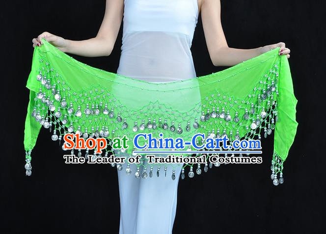 Asian Indian Belly Dance Argent Paillette Light Green Silk Waistband Accessories India Raks Sharki Belts for Women