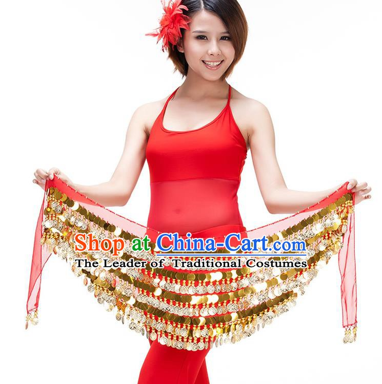 Asian Indian Belly Dance Paillette Waist Chain Red Waistband India Raks Sharki Belts for Women