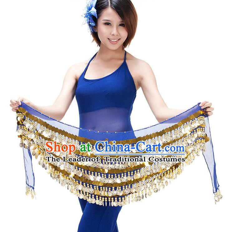 Asian Indian Belly Dance Paillette Waist Chain Royalblue Waistband India Raks Sharki Belts for Women