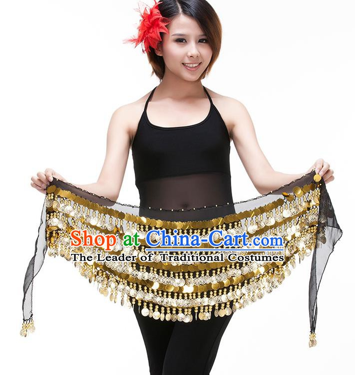 Asian Indian Belly Dance Paillette Waist Chain Black Waistband India Raks Sharki Belts for Women