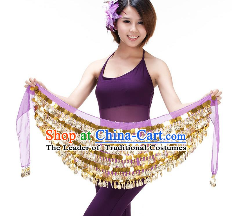 Asian Indian Belly Dance Paillette Waist Chain Purple Waistband India Raks Sharki Belts for Women
