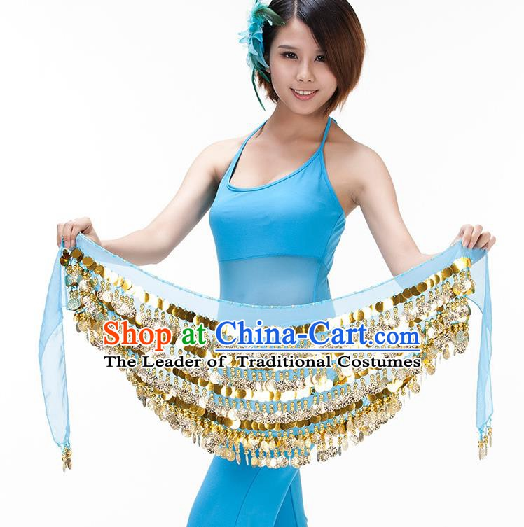 Asian Indian Belly Dance Paillette Waist Chain Blue Waistband India Raks Sharki Belts for Women