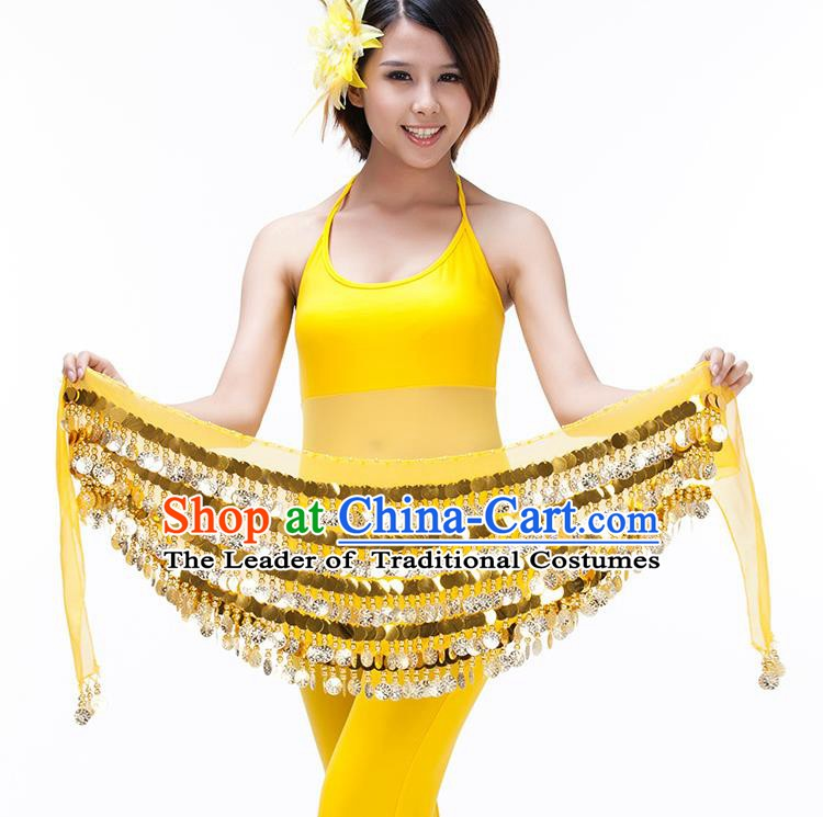 Asian Indian Belly Dance Paillette Waist Chain Yellow Waistband India Raks Sharki Belts for Women