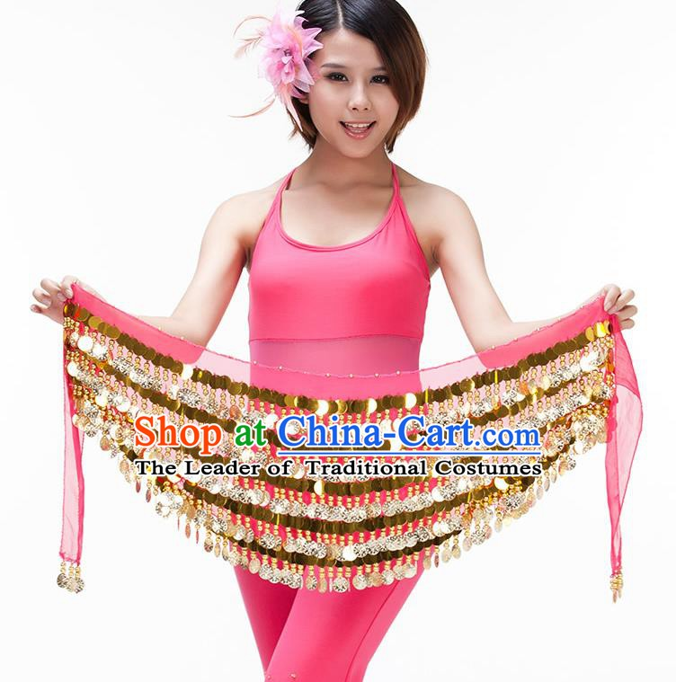 Asian Indian Belly Dance Paillette Waist Chain Peach Pink Waistband India Raks Sharki Belts for Women