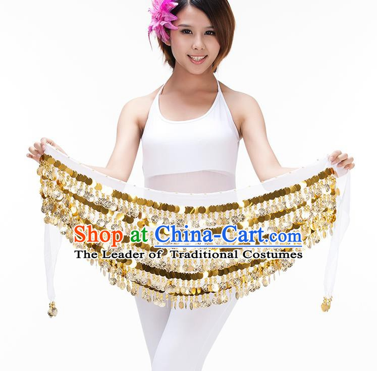 Asian Indian Belly Dance Paillette Waist Chain White Waistband India Raks Sharki Belts for Women
