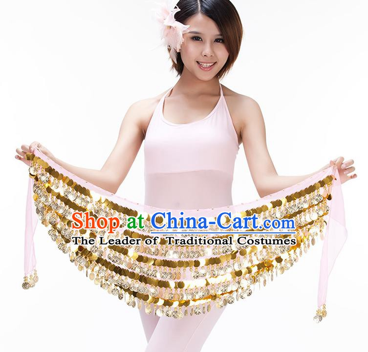Asian Indian Belly Dance Paillette Waist Chain Pink Waistband India Raks Sharki Belts for Women
