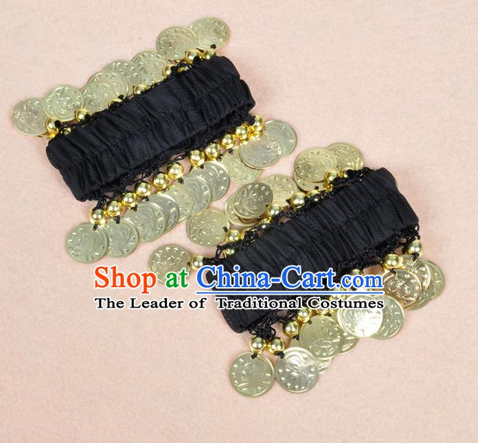 Oriental Indian Belly Dance Accessories Black Bracelets India Stage Performance Golden Coin Bangle for Women
