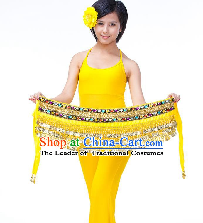 Asian Indian Belly Dance Yellow Waistband Accessories India Raks Sharki Diamante Belts for Women