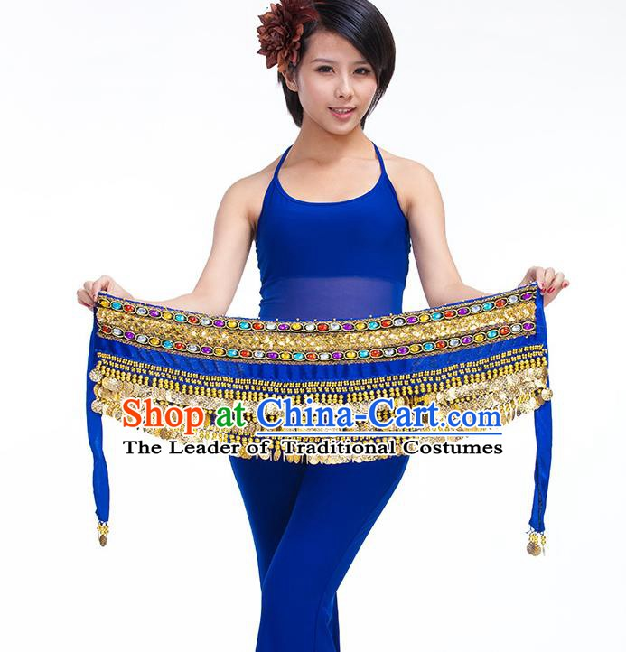 Asian Indian Belly Dance Royalblue Waistband Accessories India Raks Sharki Diamante Belts for Women