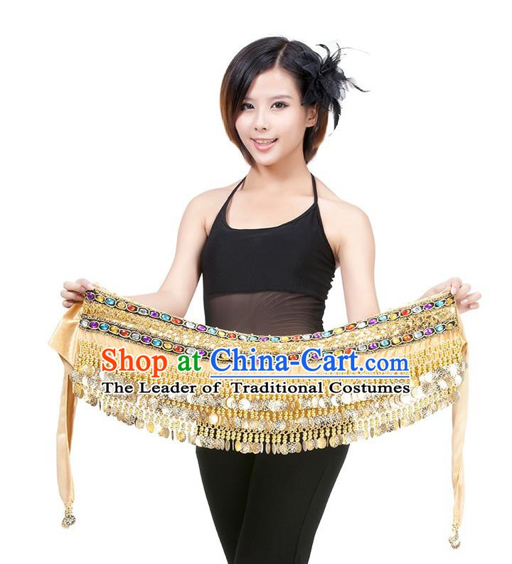 Asian Indian Belly Dance Champagne Waistband Accessories India Raks Sharki Diamante Belts for Women
