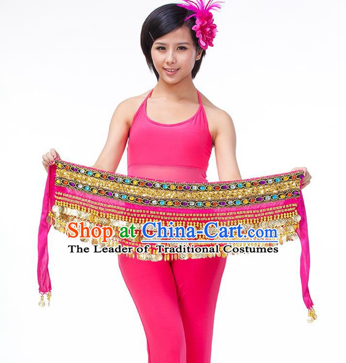 Asian Indian Belly Dance Rosy Waistband Accessories India Raks Sharki Diamante Belts for Women
