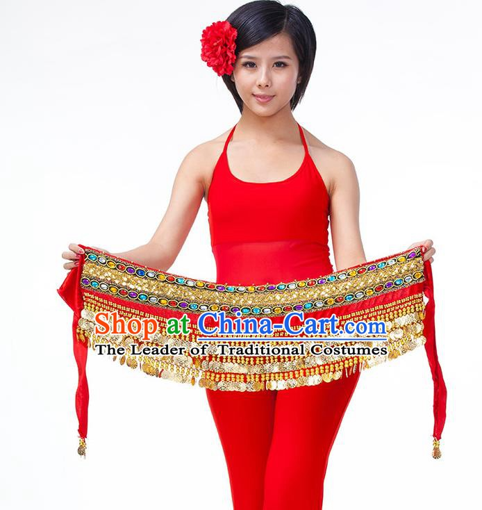 Asian Indian Belly Dance Red Waistband Accessories India Raks Sharki Diamante Belts for Women