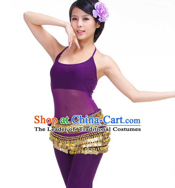 Asian Indian Belly Dance Purple Waistband Accessories India Raks Sharki Diamante Belts for Women