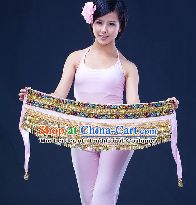Asian Indian Belly Dance Pink Waistband Accessories India Raks Sharki Diamante Belts for Women
