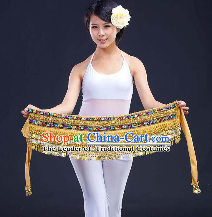 Asian Indian Belly Dance Golden Waistband Accessories India Raks Sharki Diamante Belts for Women