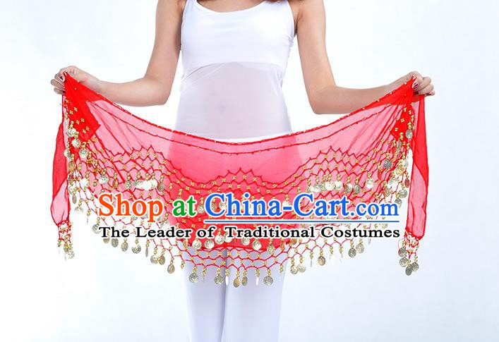 Asian Indian Belly Dance Red Silk Waistband Accessories India Raks Sharki Belts for Women