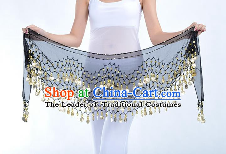 Asian Indian Belly Dance Black Silk Waistband Accessories India Raks Sharki Belts for Women
