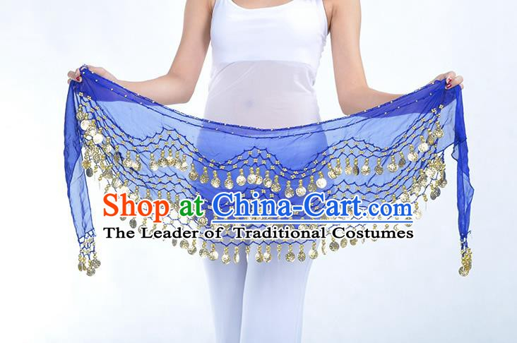 Asian Indian Belly Dance Royalblue Silk Waistband Accessories India Raks Sharki Belts for Women