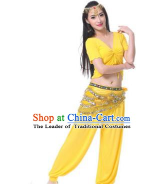 Asian Indian Belly Dance Costume Stage Performance Yellow Outfits, India Raks Sharki Dress for Women