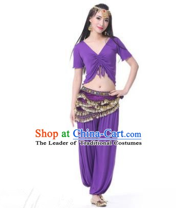 Asian Indian Belly Dance Costume Stage Performance Purple Outfits, India Raks Sharki Dress for Women