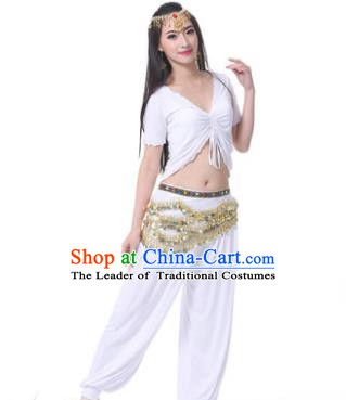 Asian Indian Belly Dance Costume Stage Performance White Outfits, India Raks Sharki Dress for Women