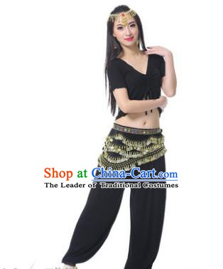 Asian Indian Belly Dance Costume Stage Performance Black Outfits, India Raks Sharki Dress for Women