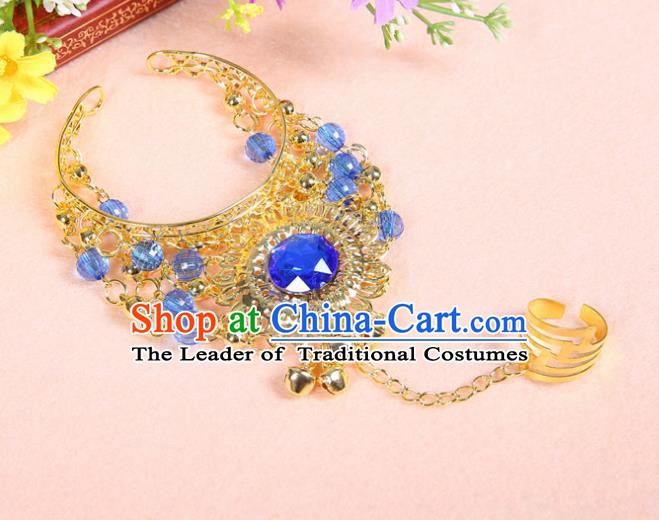 Asian Indian Belly Dance Accessories Bracelet India National Dance Blue Crystal Bangle for Women