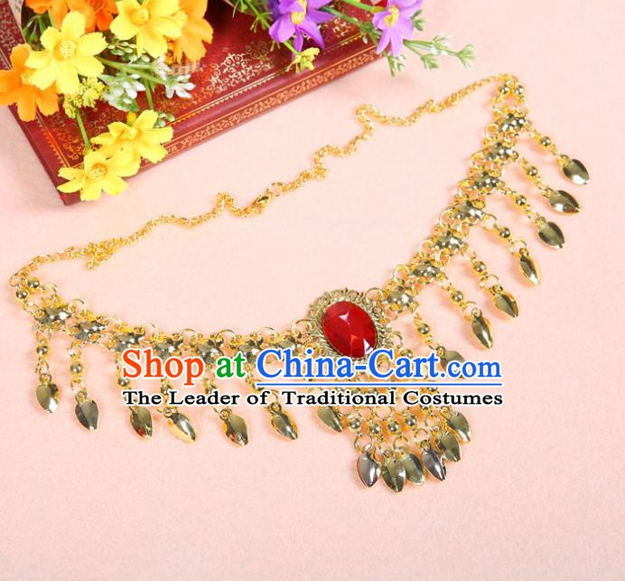 Asian Indian Belly Dance Accessories Necklace India National Dance Red Crystal Necklet for Women