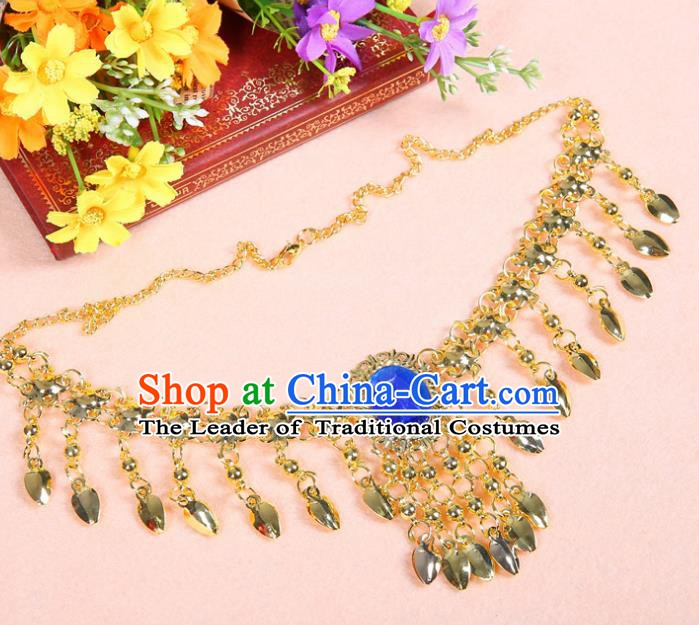 Asian Indian Belly Dance Accessories Necklace India National Dance Blue Crystal Necklet for Women