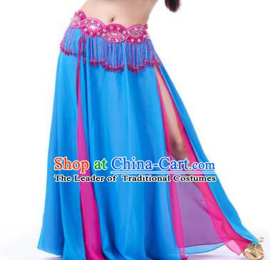 Asian Indian Belly Dance Costume Stage Performance Blue and Rosy Skirt, India Raks Sharki Slit Dress for Women