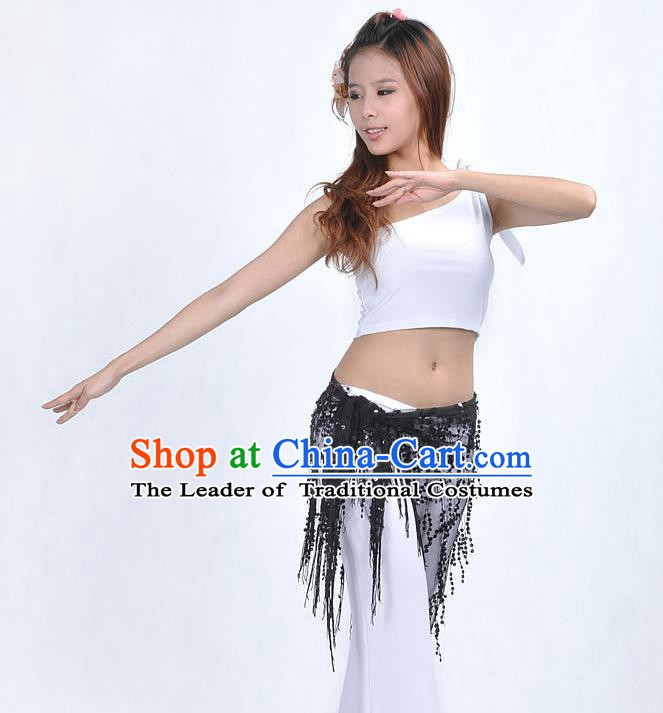 Asian Indian Belly Dance Paillette Black Buttocks Scarf Waistband India Raks Sharki Belts for Women
