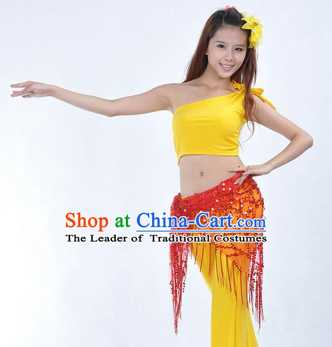 Asian Indian Belly Dance Paillette Red Buttocks Scarf Waistband India Raks Sharki Belts for Women