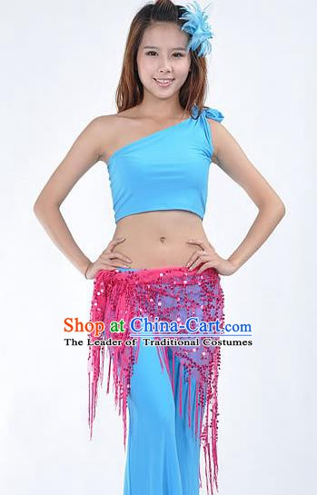 Asian Indian Belly Dance Paillette Rosy Buttocks Scarf Waistband India Raks Sharki Belts for Women