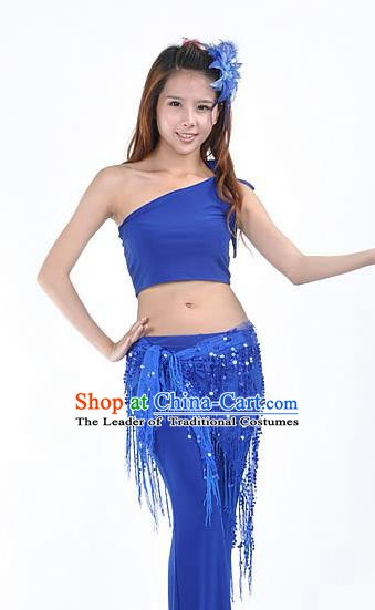 Asian Indian Belly Dance Paillette Royalblue Buttocks Scarf Waistband India Raks Sharki Belts for Women
