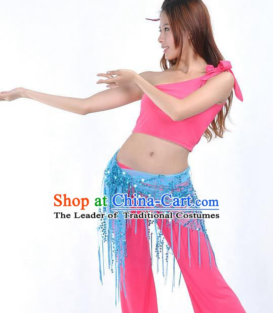 Asian Indian Belly Dance Paillette Blue Buttocks Scarf Waistband India Raks Sharki Belts for Women