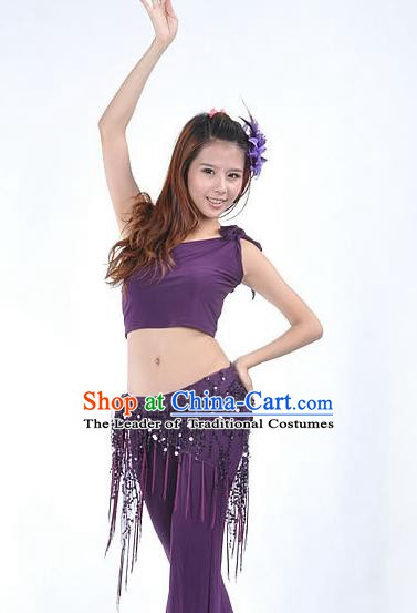 Asian Indian Belly Dance Paillette Purple Buttocks Scarf Waistband India Raks Sharki Belts for Women