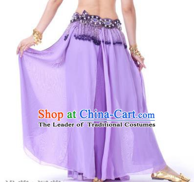 Asian Indian Belly Dance Costume Stage Performance Purple Skirt, India Raks Sharki Slit Dress for Women