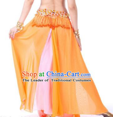 Asian Indian Belly Dance Costume Stage Performance Orange and Pink Skirt, India Raks Sharki Slit Dress for Women
