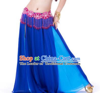Asian Indian Belly Dance Costume Stage Performance Royalblue Skirt, India Raks Sharki Slit Dress for Women