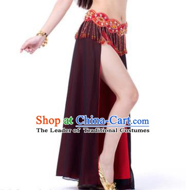 Asian Indian Belly Dance Costume Stage Performance Amaranth Skirt, India Raks Sharki Slit Dress for Women