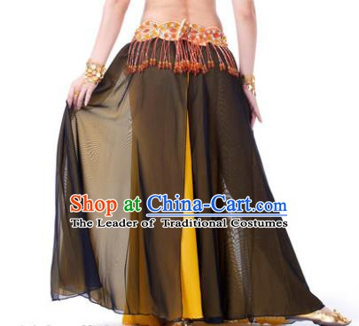 Asian Indian Belly Dance Costume Stage Performance Black and Yellow Skirt, India Raks Sharki Slit Dress for Women