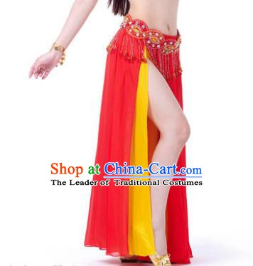 Asian Indian Belly Dance Costume Stage Performance Red and Yellow Skirt, India Raks Sharki Slit Dress for Women
