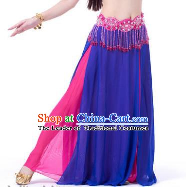 Asian Indian Belly Dance Costume Stage Performance Royalblue and Rosy Skirt, India Raks Sharki Slit Dress for Women