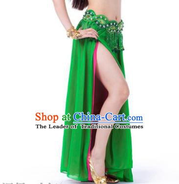 Asian Indian Belly Dance Costume Stage Performance Green and Rosy Skirt, India Raks Sharki Slit Dress for Women