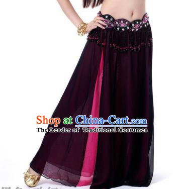 Asian Indian Belly Dance Costume Stage Performance Purple and Rosy Skirt, India Raks Sharki Slit Dress for Women